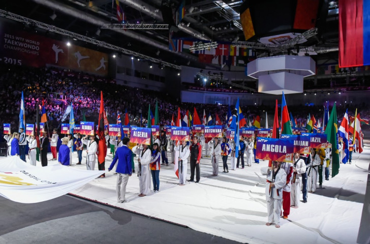 Flagbearers from every nation participating in the Championships featured at the Opening Ceremony ©WTF