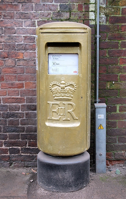 A gold post box was erected in Newent after London 2012 to commemorate the success of Valegro and his rider Charlotte Dujardin, who won two Olympic gold medals ©Twitter