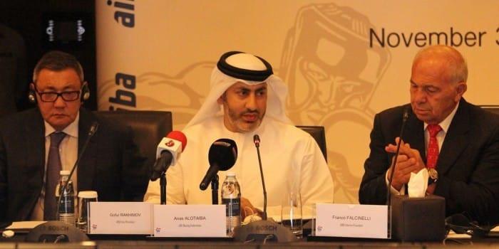 Anas Al Otaiba, centre, had been considered a close ally of Gafur Rakhimov, left ©Facebook