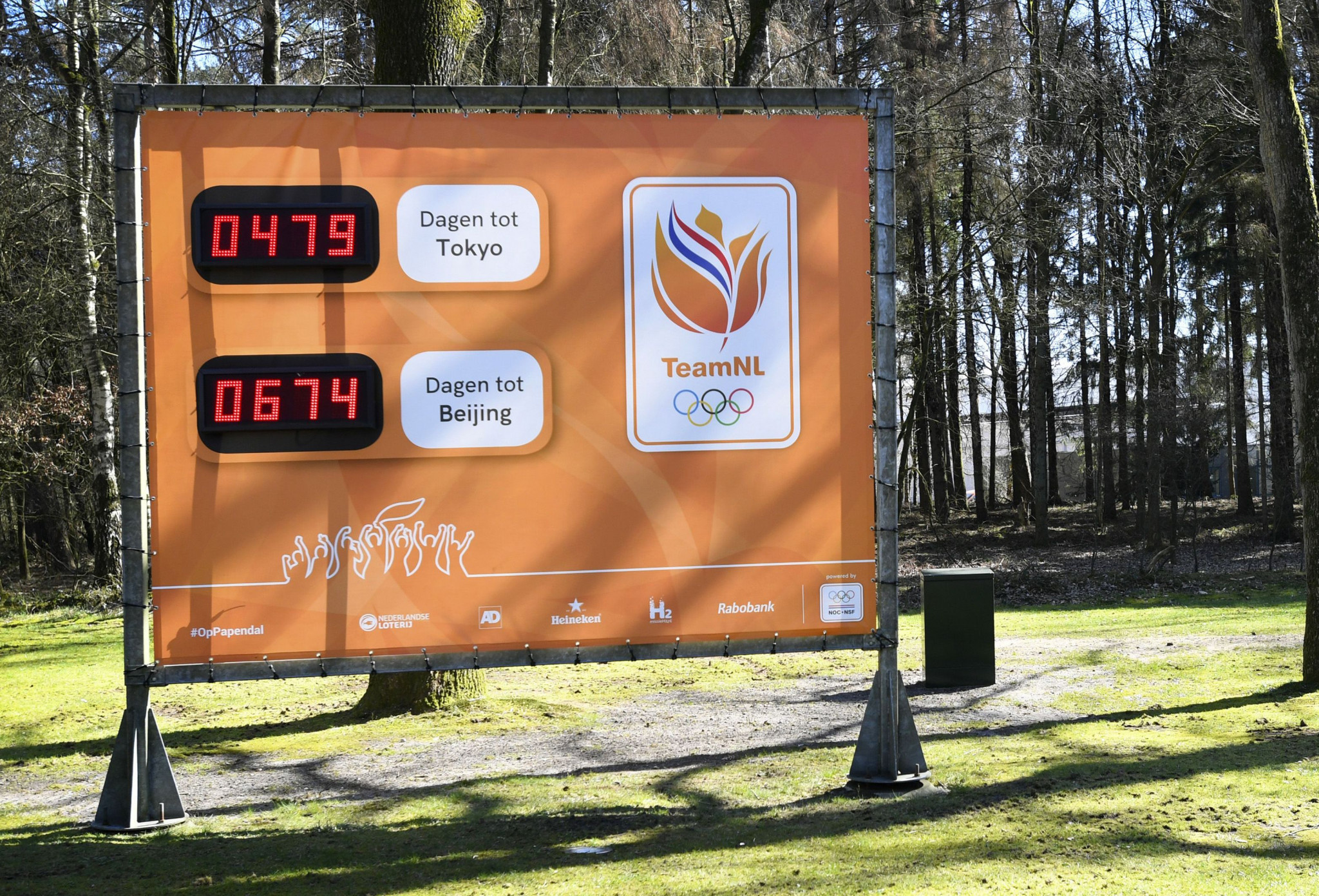 A Dutch countdown board, photographed in Arnhem on March 31, highlights the close proximity between Tokyo 2020 and Beijing 2022 ©Getty Images