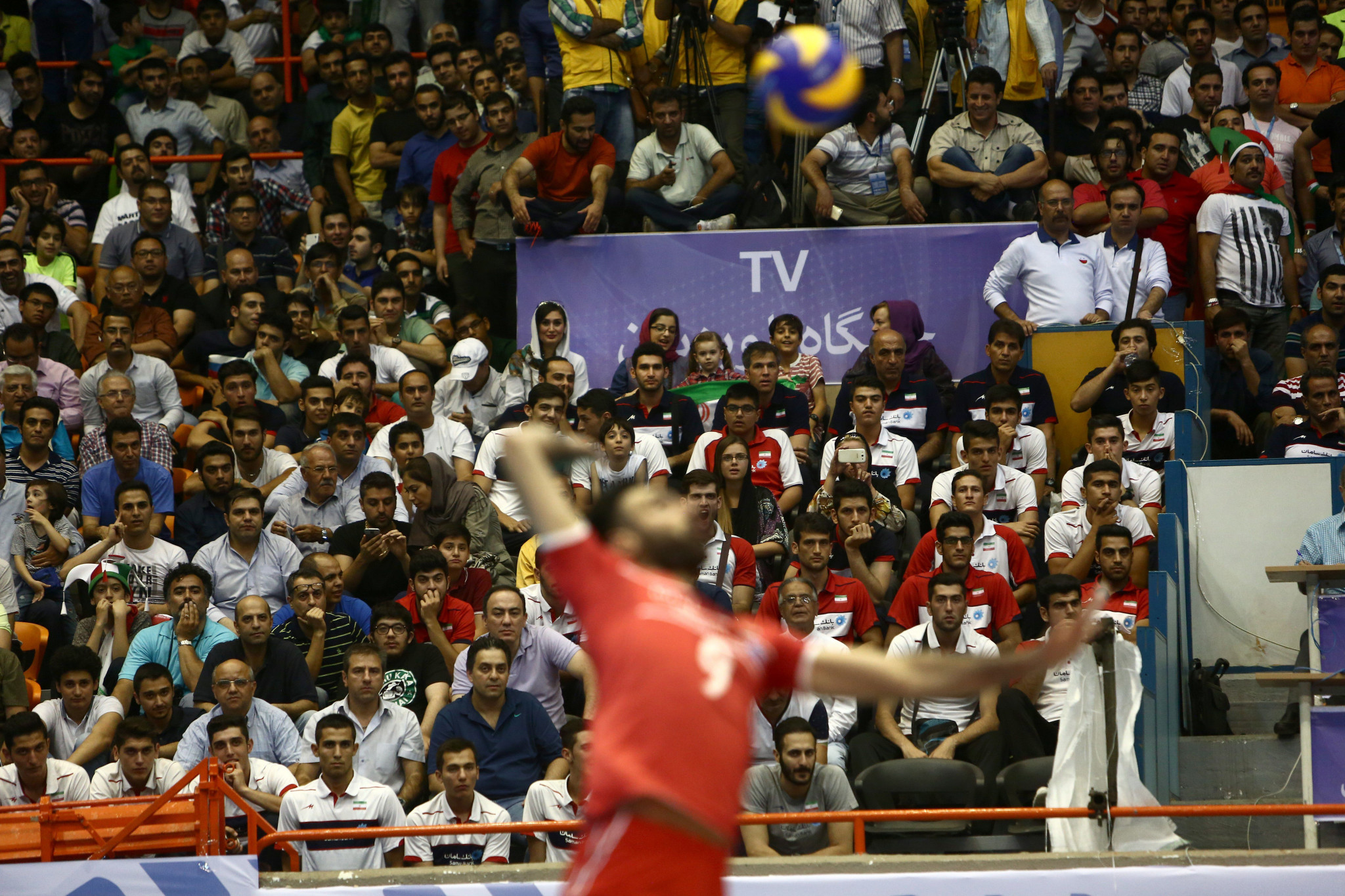 Only a limited number of pre-vetted women are allowed to attend volleyball matches in Iran ©Getty Images