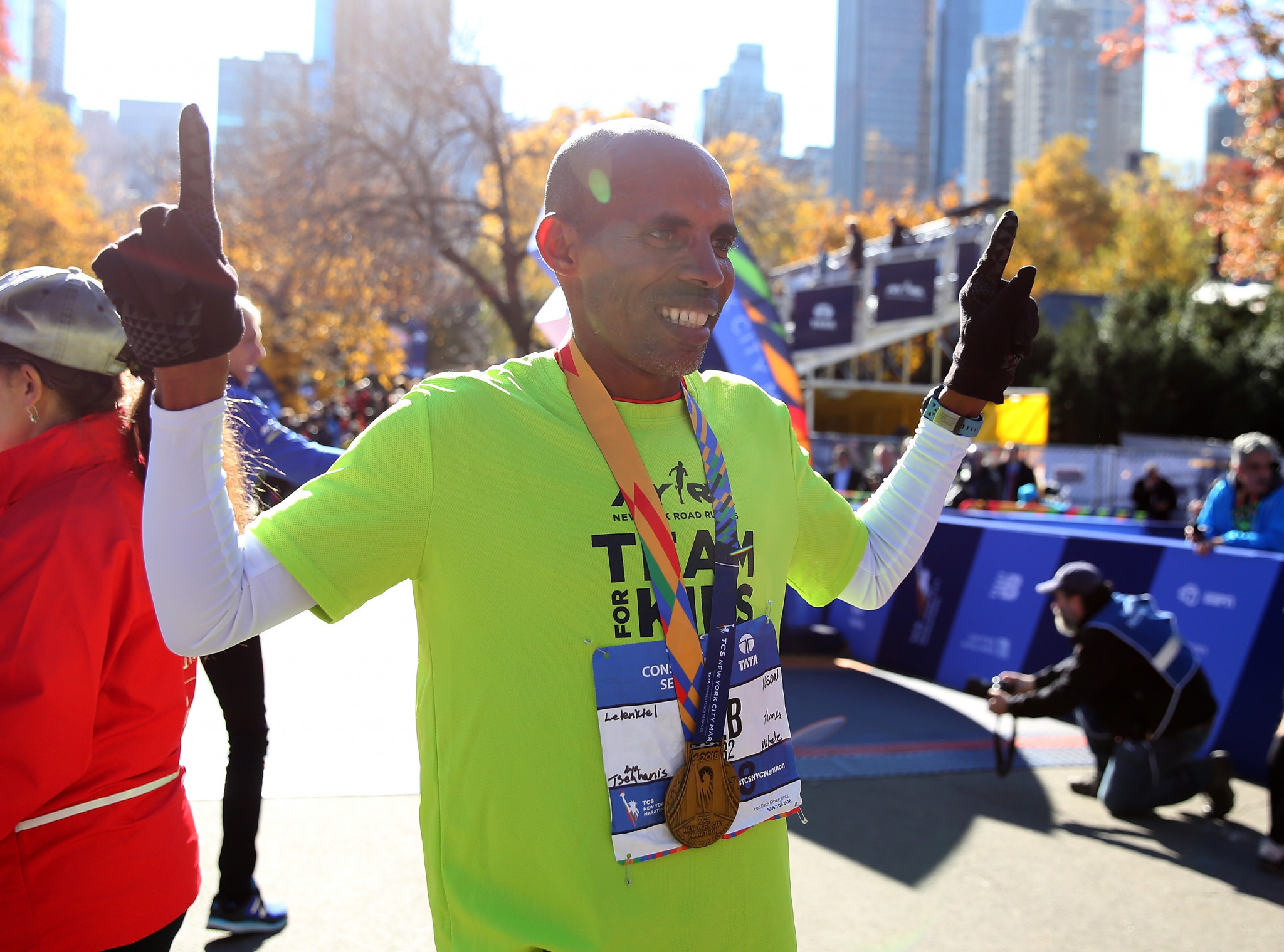 Former New York City Marathon champion Meb Keflezighi will be teaming up with retired tennis player James Blake ©Getty Images