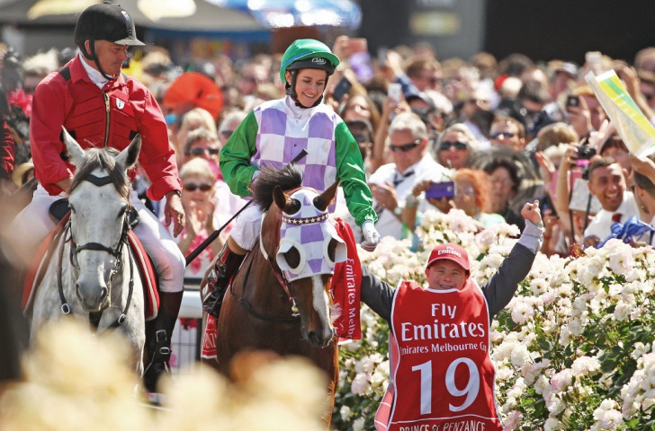 Michelle Payne in the aftermath of her historic victory in last November's Melbourne Cup ©Getty Images