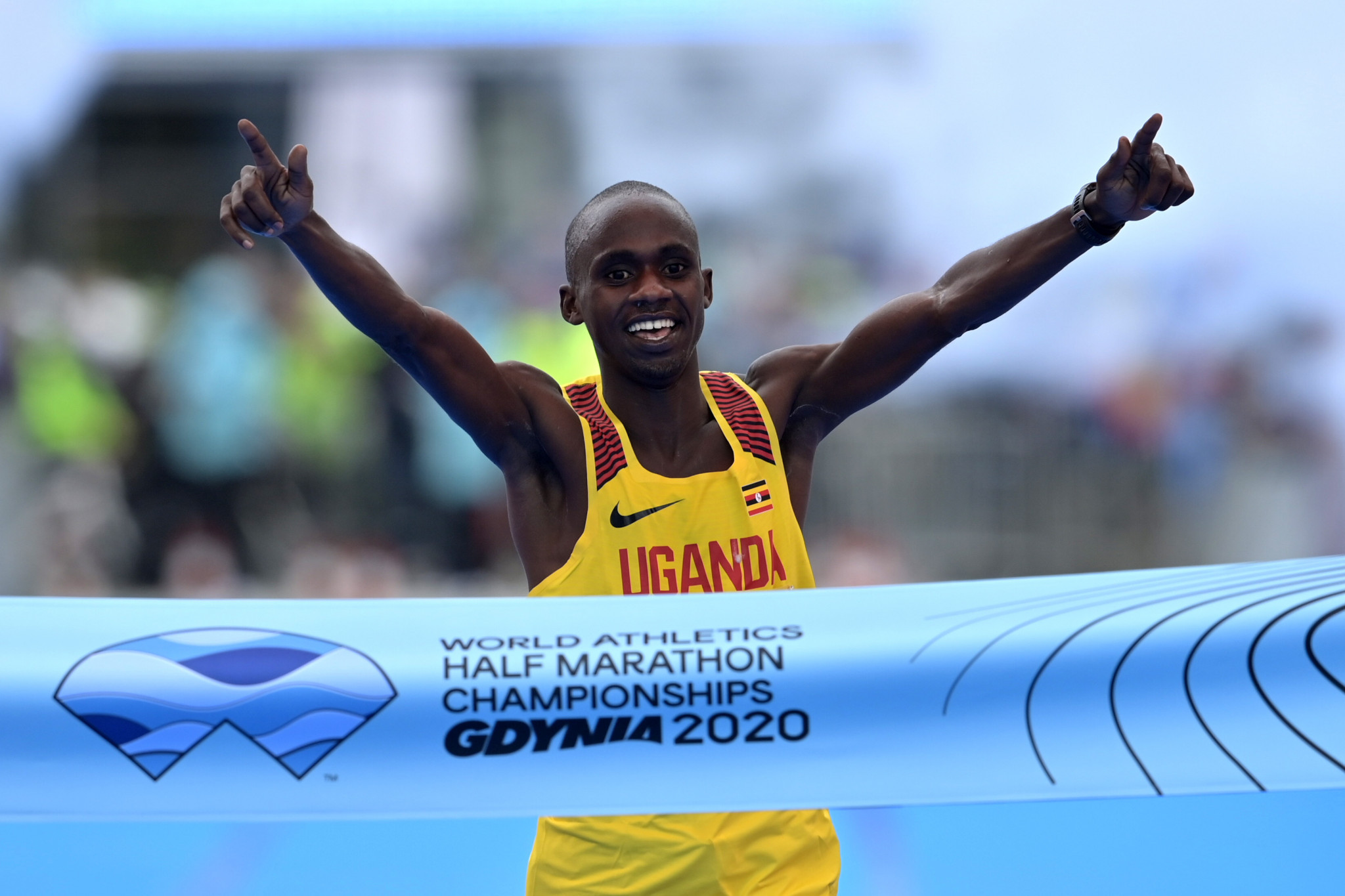 Nineteen-year-old Jacob Kiplimo won the men's title at the World Athletics Half Marathon Championships in Gdynia today ©Getty Images