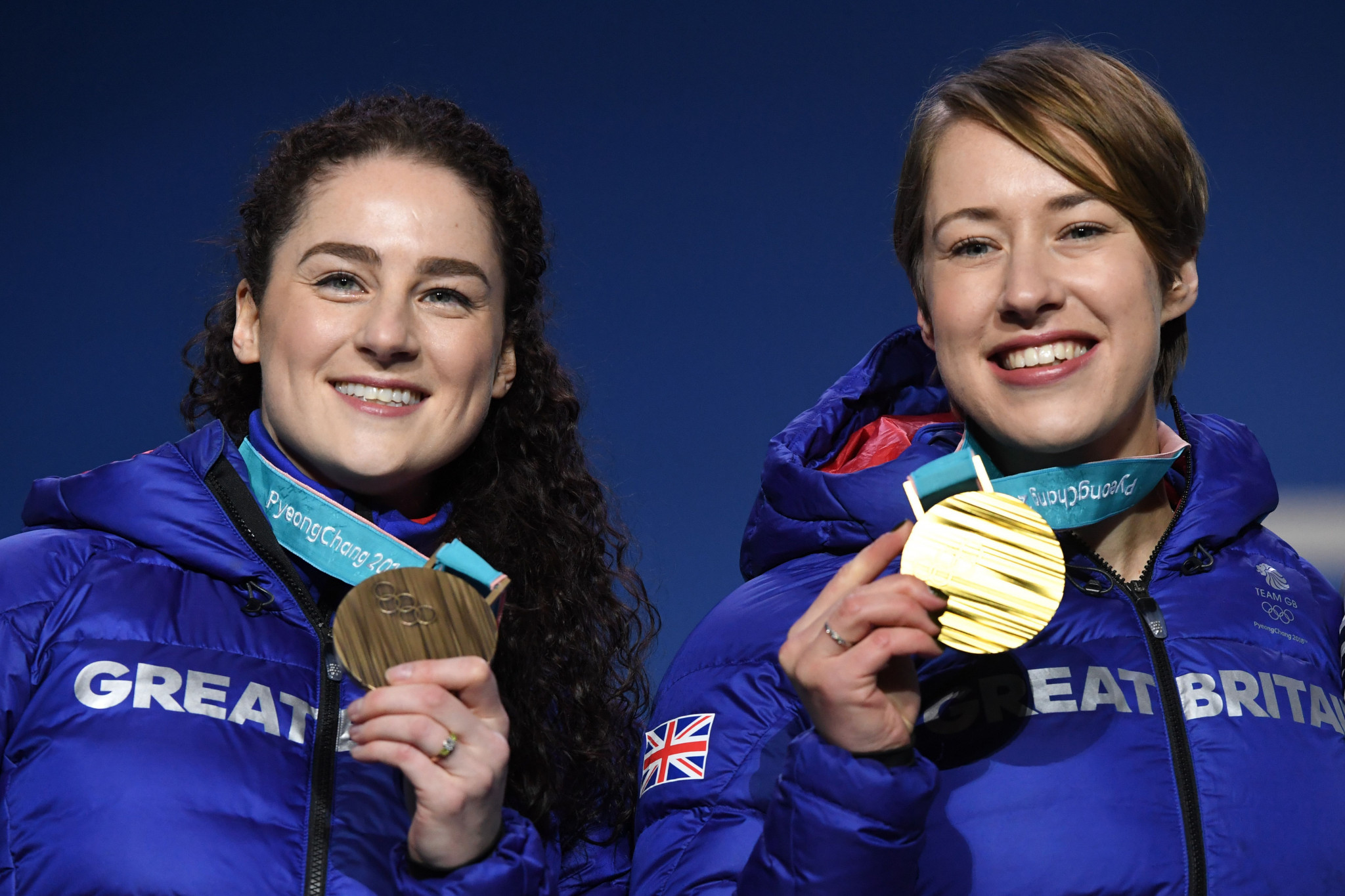 Lizzie Yarnold, right, and Laura Deas clinched gold and bronze respectively in the women's skeleton at Pyeongchang 2018 ©Getty Images