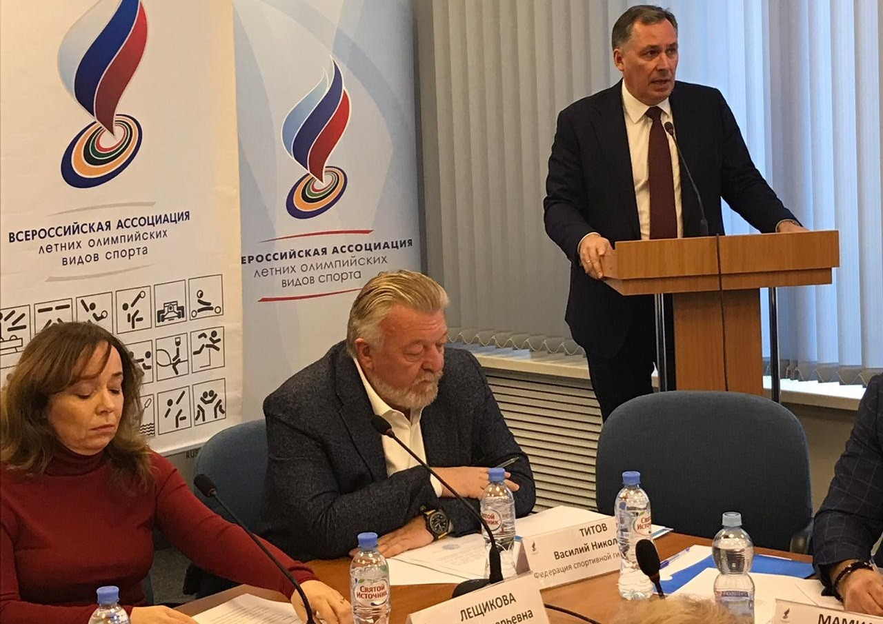Vasily Titov, centre, was elected President of the All-Russian Association of Summer Olympic Sports by the Russian Olympic Committee last year ©Russian Olympic Committee