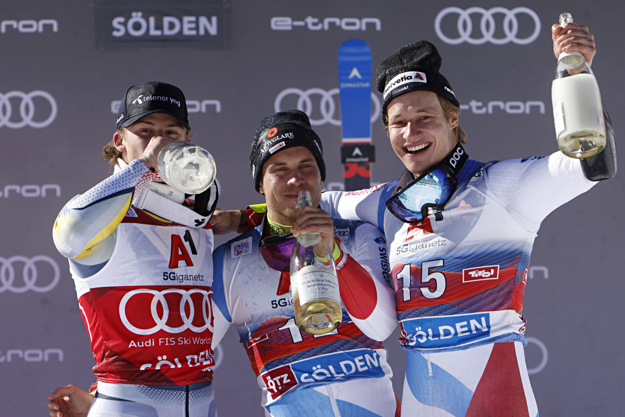 Neither Lucas Braathen, left, or Gino Caviezel, centre, had made a World Cup podium before  ©Getty Images
