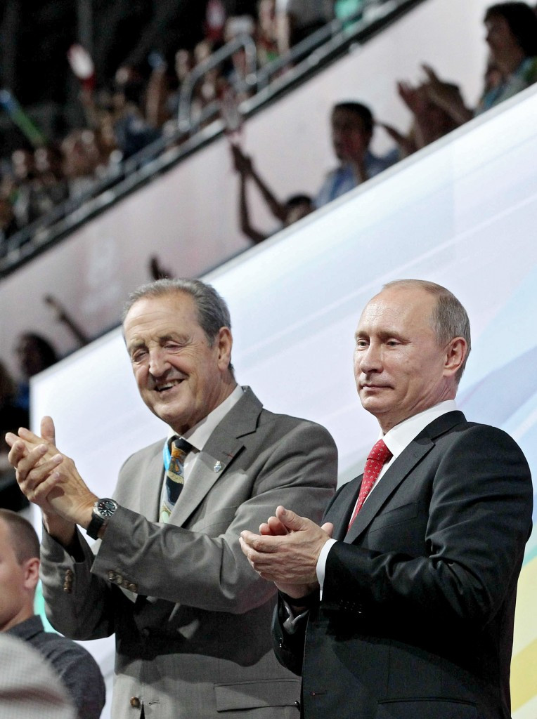 Oleg Matytsin succeeded Claude-Louis Gallien, pictured here with Russian President Vladimir Putin at the Opening Ceremony of the 2013 Summer Universiade in Kazan, as FISU President in November