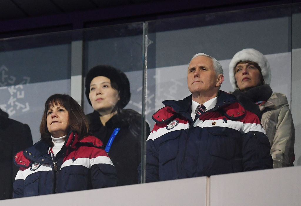 US vice-president Mike Pence, right, attended Pyeongchang 2018 and was pictured in the same box as Kim Yo-jong, top left, the sister of North Korean supreme leader Kim Jong-un ©Getty Images