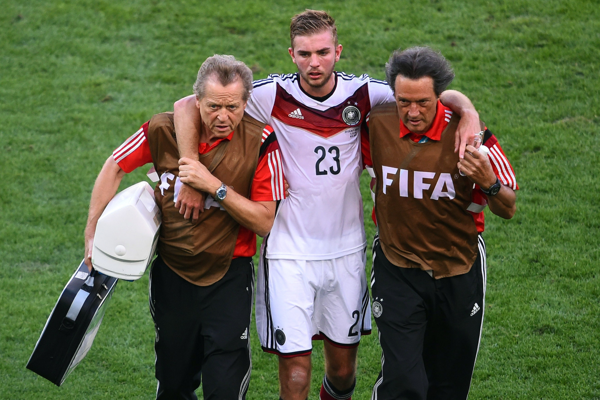 After suffering a head injury in the 2014 FIFA World Cup final - and asking the referee if it was indeed the final, as he was dazed - Germany's Christoph Kramer was allowed to play on for fourteen minutes before collapsing and only then being taken off  ©Getty Images