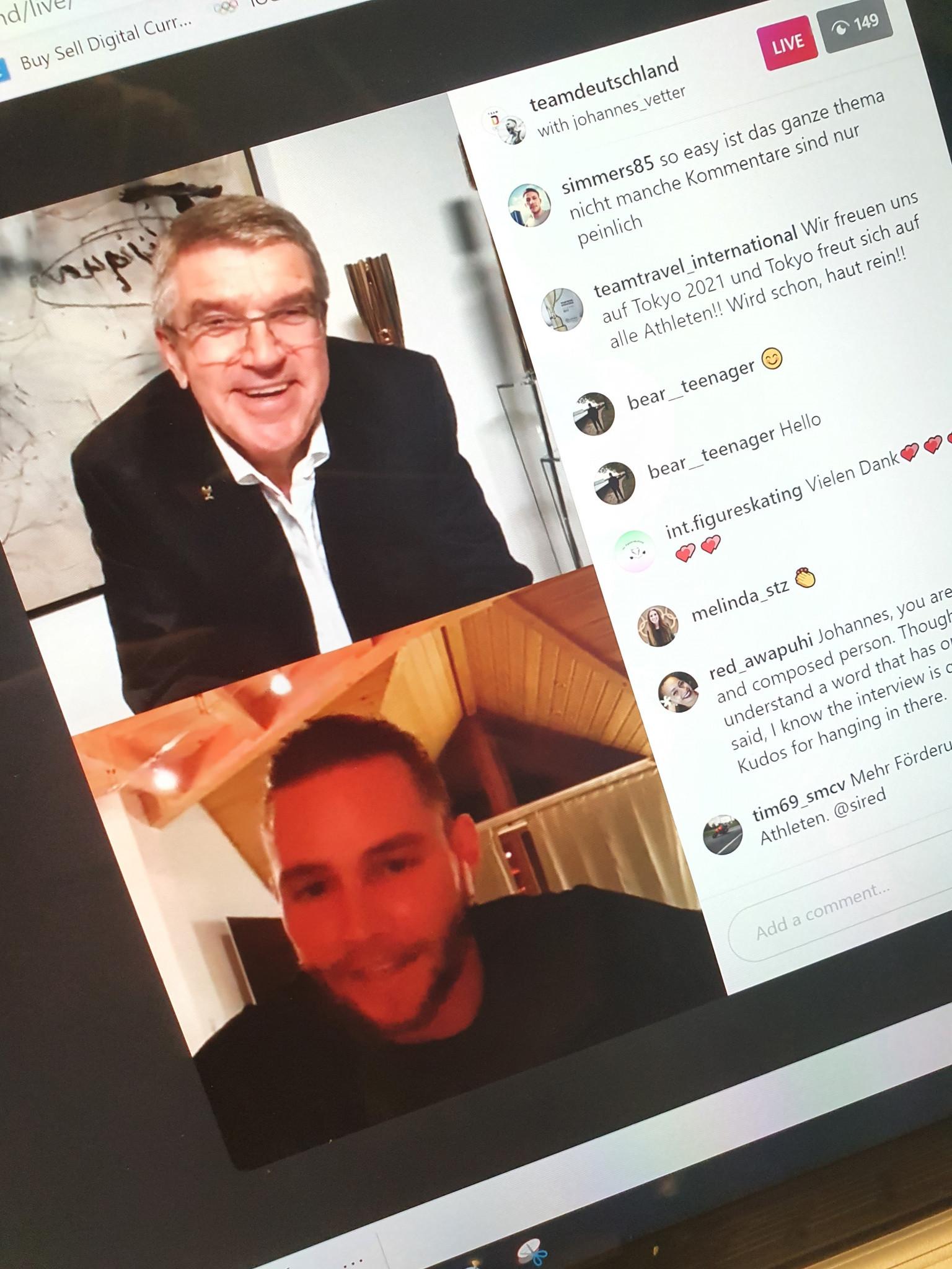 IOC President Thomas Bach joined German javelin thrower Johannes Vetter on Instagram Live ©Twitter