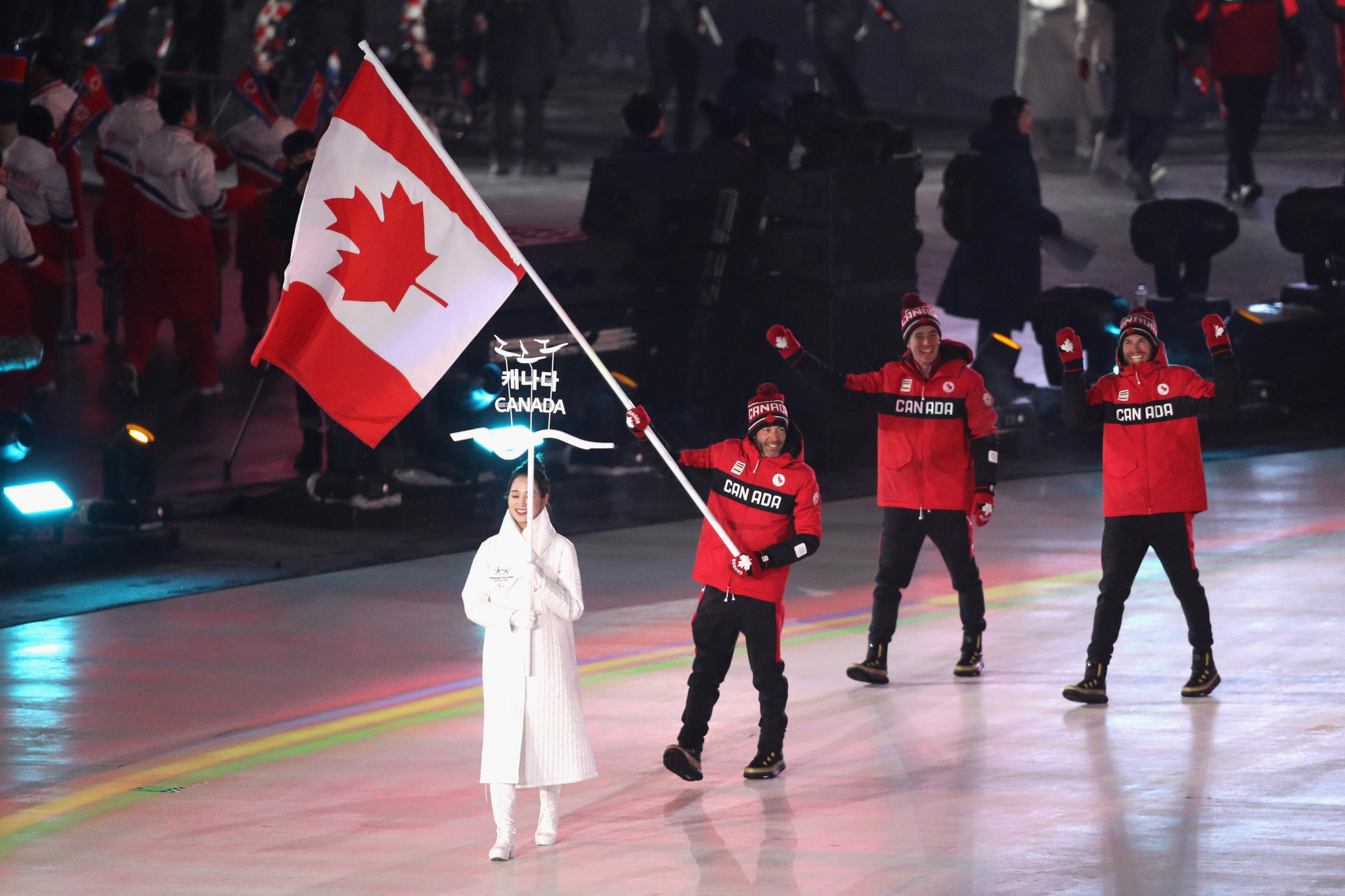 Brian McKeever was the flagbearer for Canada at the Opening Ceremony to Pyeongchang 2018 ©Getty Images