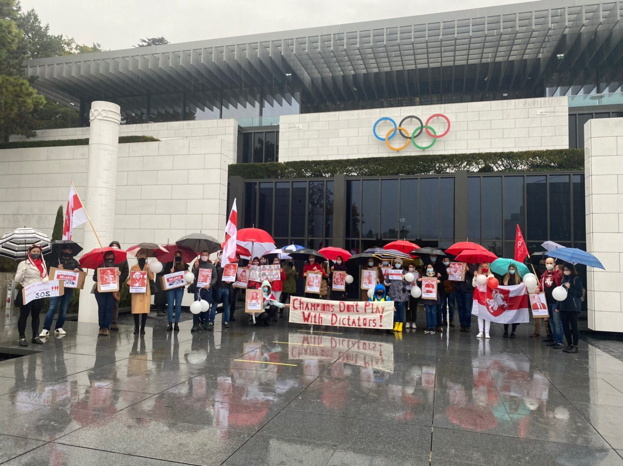 A march was held in Lausanne to call on the IOC to suspend the National Olympic Committee of the Republic of Belarus ©RAZAM