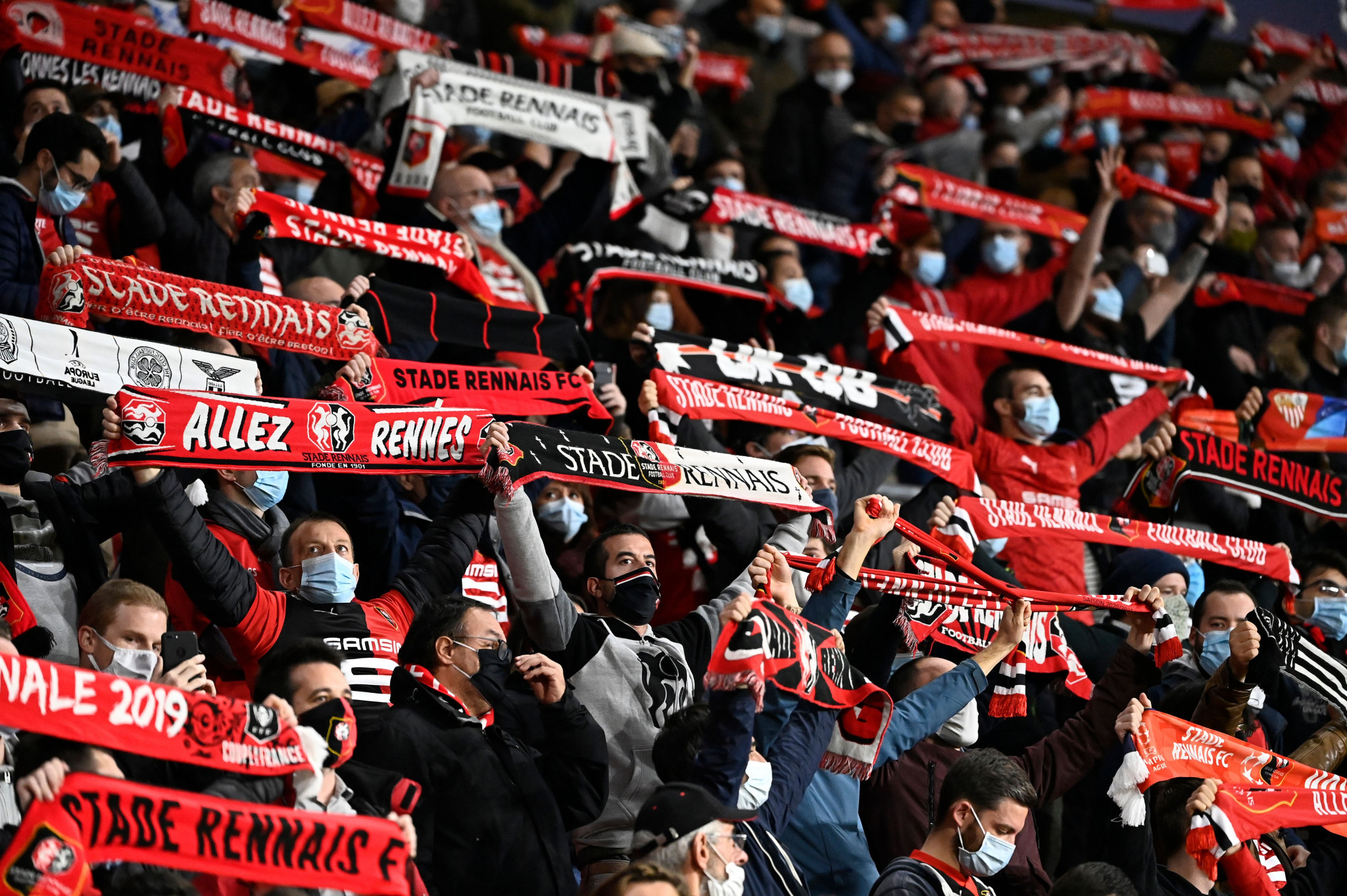 Spectators at the Champions League game between Rennes and Krasnodar were criticised for appearing to breach social distancing rules ©Getty Images