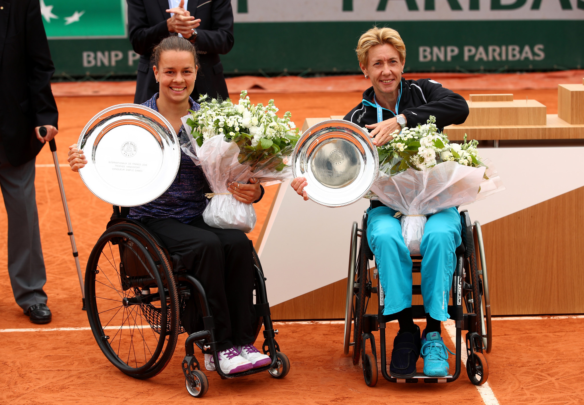 Marjolein Buis, left, won her only major singles title at the French Open in 2016, beating Sabine Ellerbrock of Germany in the final ©Getty Images