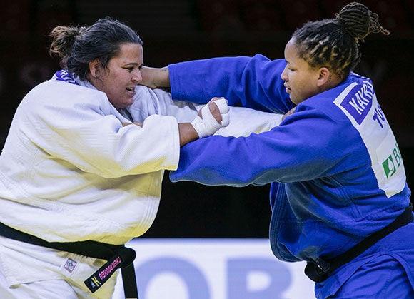 Kayra Sayit, right, won the women's heavyweight division ©IJF
