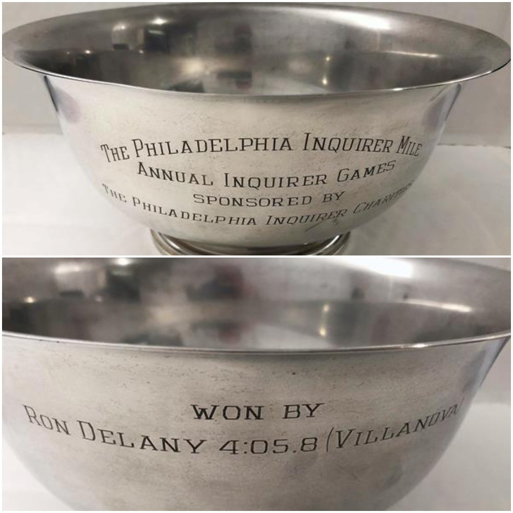 Ireland's Ron Delany won the silver bowl when he set a meeting record of 4:05.8 at the Philadelphia Inquirer Mile in 1959 ©World Athletics