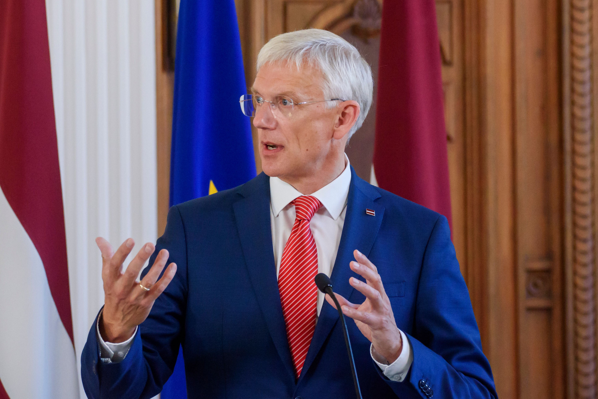Latvian Prime Minister Krisjanis Karins has warned the country may consider pulling out of co-organising the 2021 IIHF Men's World Championship because of the situation in Belarus ©Getty Images
