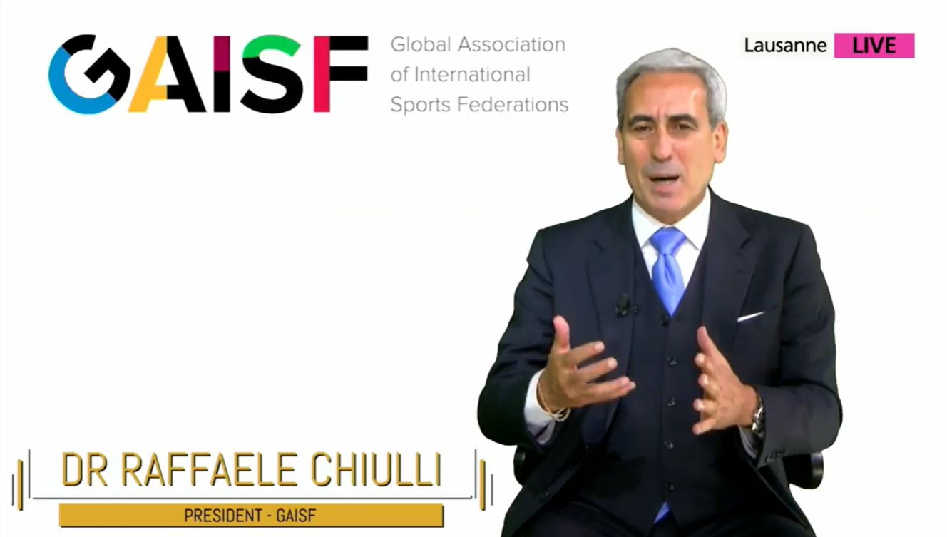 Global Association of International Sports Federations President Raffaele Chiulli addressed the afternoon session of the Smart CIties & Sport Summit ©Smart Cities & Sport Summit