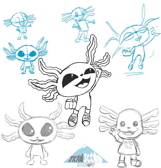 Alexx the Axolotl was designed by Transcend Studio animator Oscar Feliz ©Transcend Studio