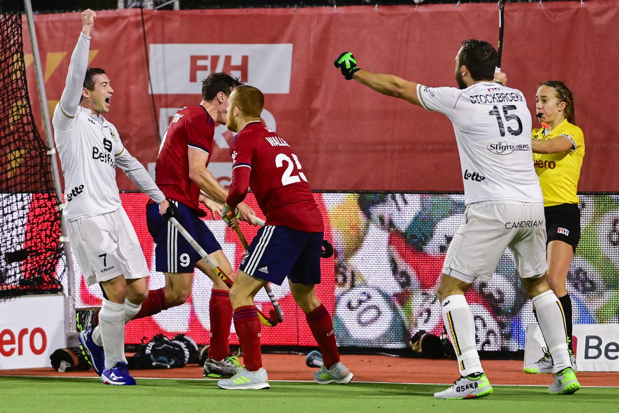 Belgium secure late men's win in FIH Pro League but Britain triumph in women's shootout