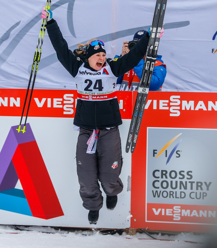 Jessica Diggins secured her first World Cup win in Toblach ©Getty Images