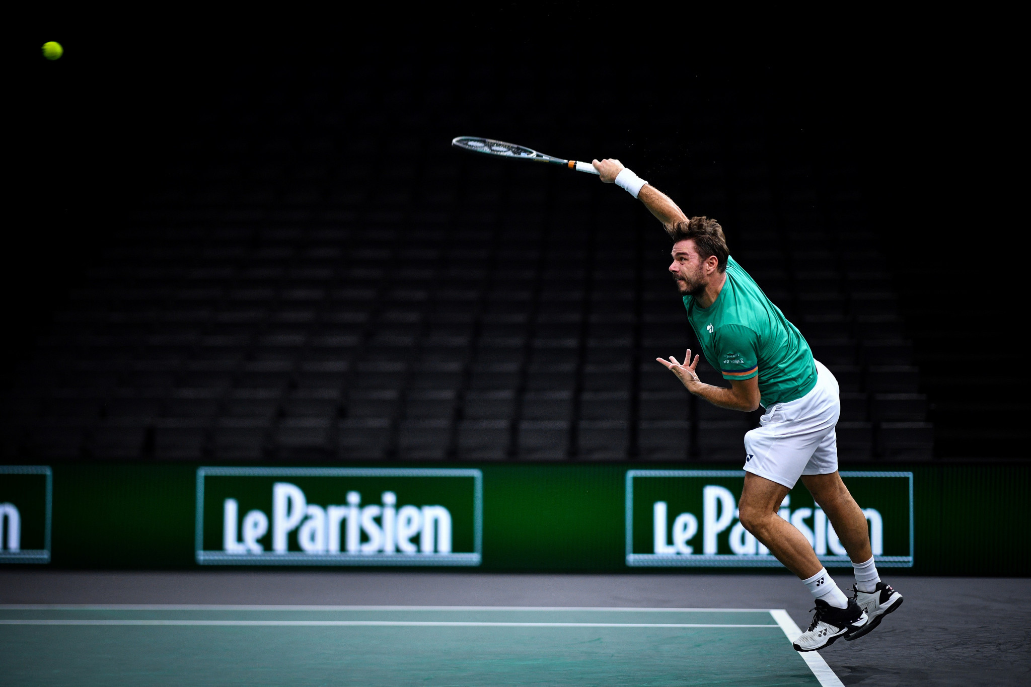 Stan Wawrinka hit eight aces in reaching round two of the Paris Masters ©Getty Images
