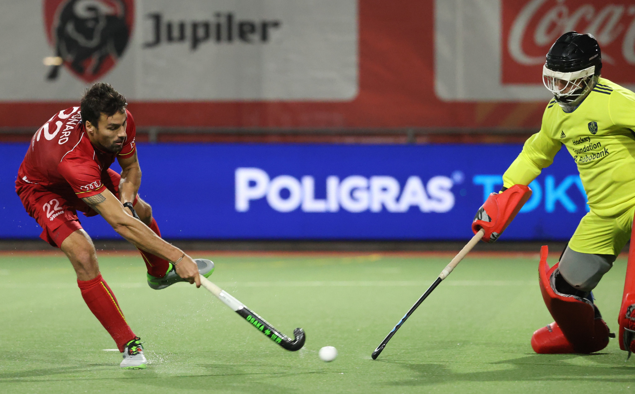 Simon Gougnard, left, was one of Belgium's four scorers in the shootout ©Getty Images