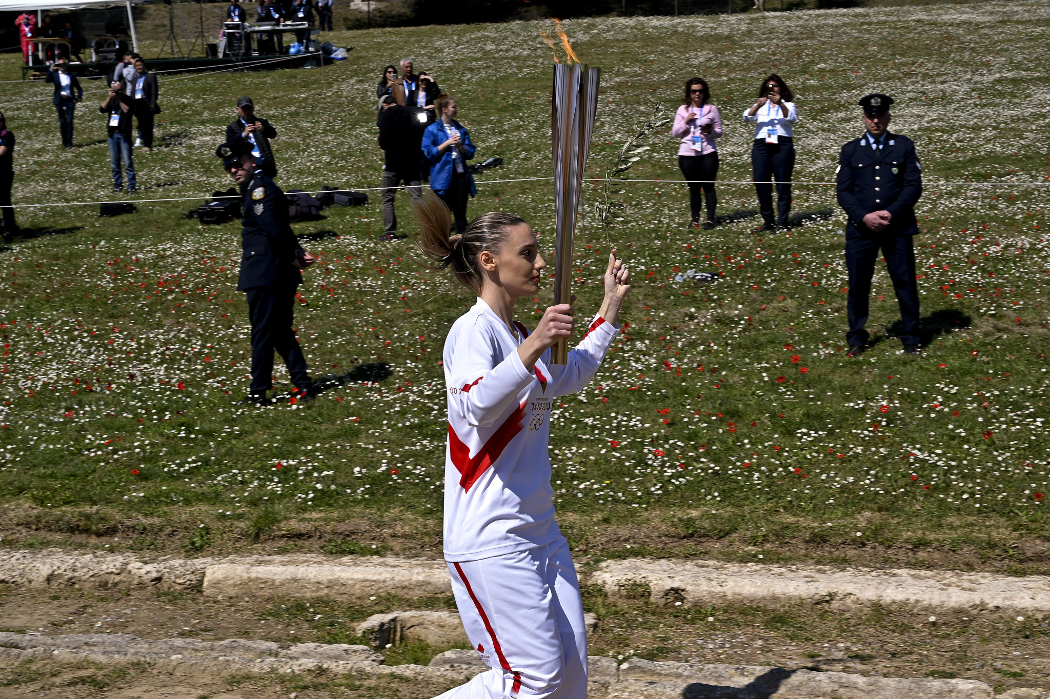 Anna Korakaki became the first woman to carry the Olympic Torch inside the Olympic Stadium earlier this year ©Getty Images