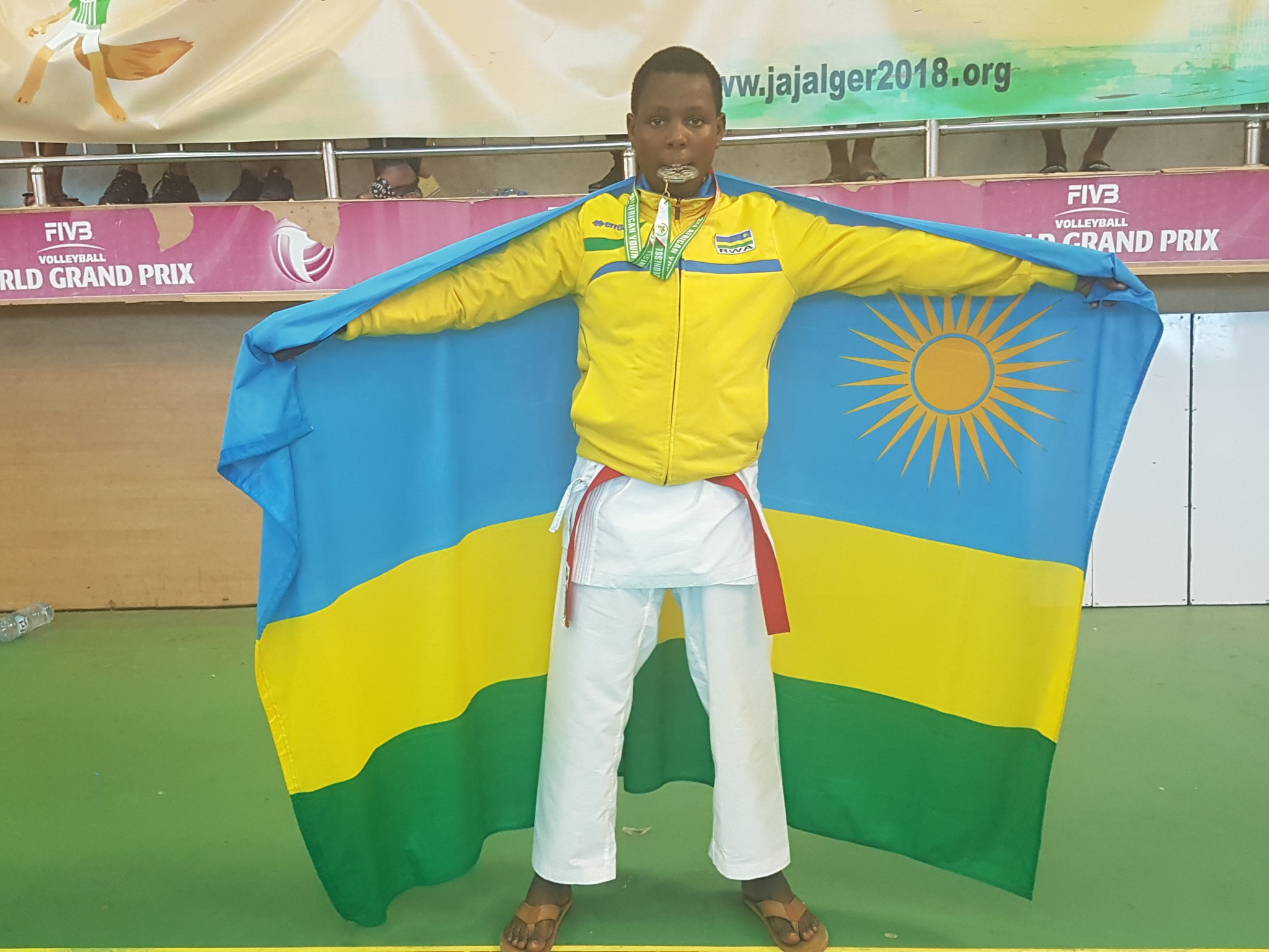 Umunezero Jovia won silver in the individual karate kumite at the 2018 African Youth Games ©RNOSC
