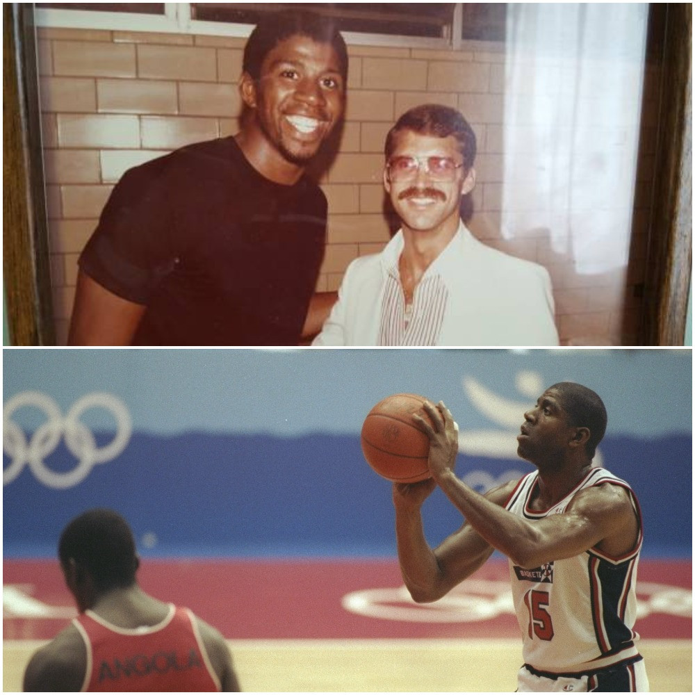 Tom Jamieson was a sports doctor who used to treat Magic Johnson when he played in high school and university before he went on to to enjoy a glittering career, including winning an Olympic gold medal at Barcelona 1992 ©Tom Jamieson and Getty Images
