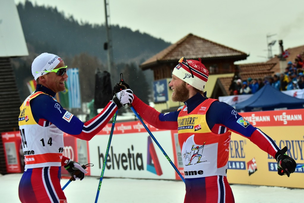 Martin Johnsrud Sundby (right) is poised to win the Tour de Ski for a third straight year