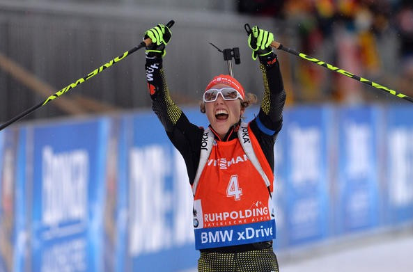 Germany's Laura Dahlmeier won for the third time this season in the women's 10km pursuit, much to the delight of the home crowd
