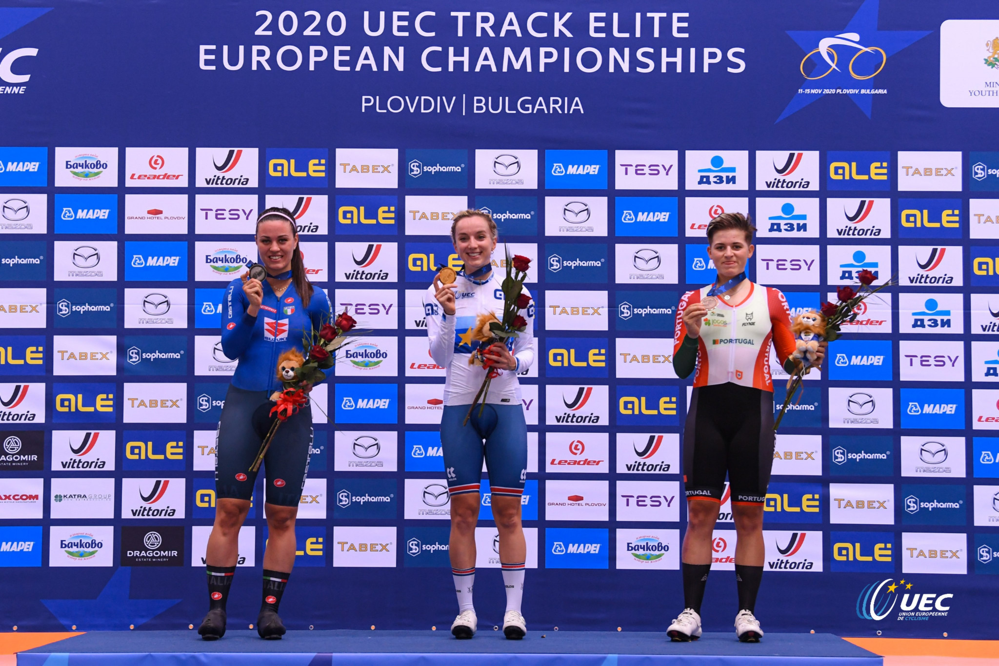 The medallists in the women's elimination race - from left Rachele Barbieri, Elinor Barker and Maria Martins ©UEC
