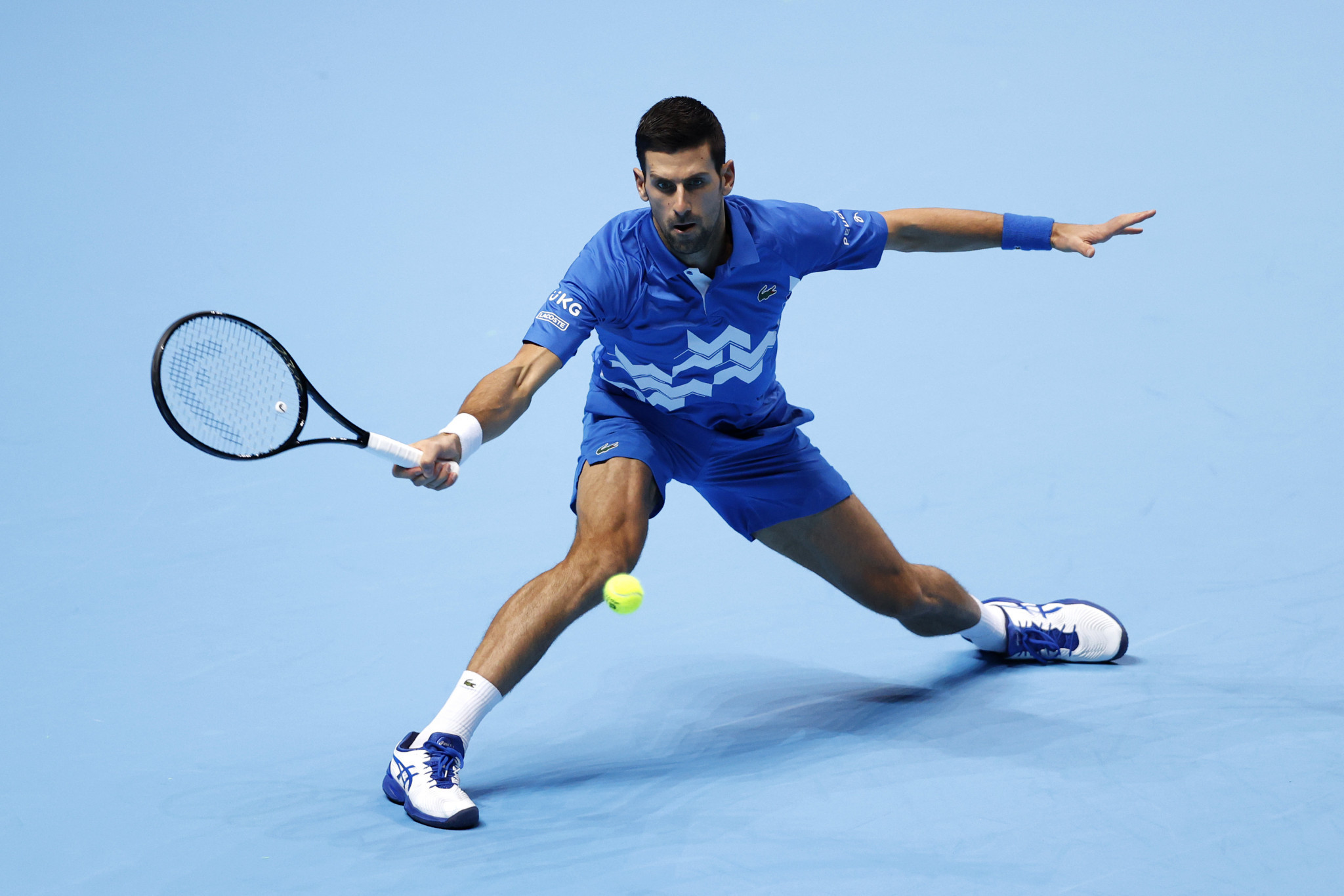 Top seed Novak Djokovic defeated Diego Schwartzman in straight sets on day two of the ATP Finals in London ©Getty Images