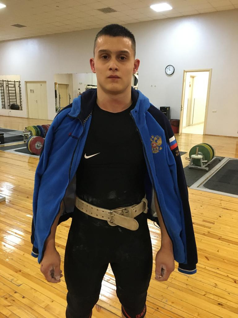 Maksim Moguchev of Russia earned three gold medals in the men's 89kg at the IWF Online Youth World Cup ©IWF