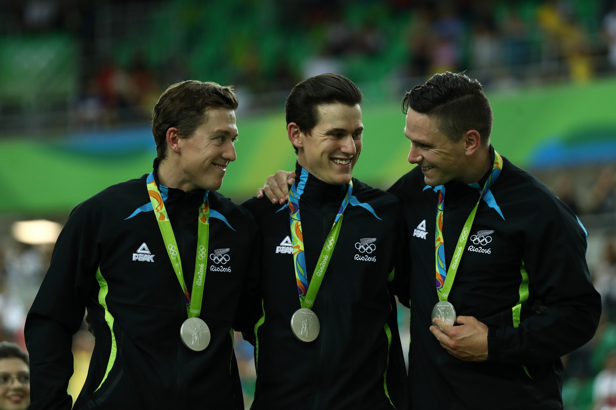 Ethan Mitchell, left, and Sam Webster, centre, have been included in New Zealand's team for Tokyo 2020 after winning team sprint silver at Rio 2016 alongside Edward Dawkins ©Getty Images