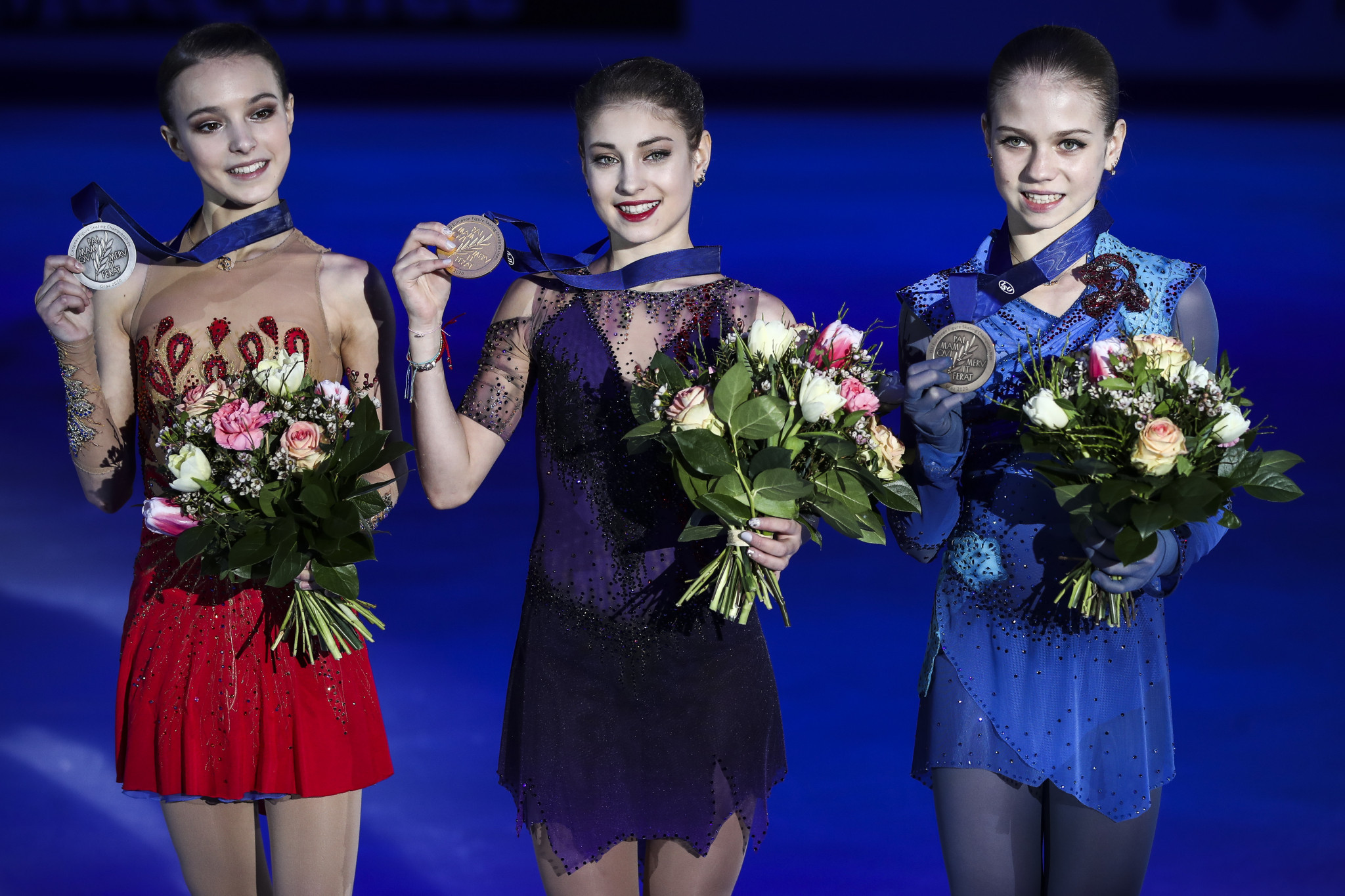 Alena Kostornaia, centre, clinched gold with Anna Shcherbakova, left, and Alexandra Trusova, right, taking silver and bronze respectively at this year's European Championships ©Getty Images