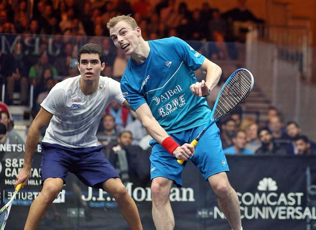 Nick Matthew was forced to overcome rising Peruvian star Diego Elias in the first round ©squashpics