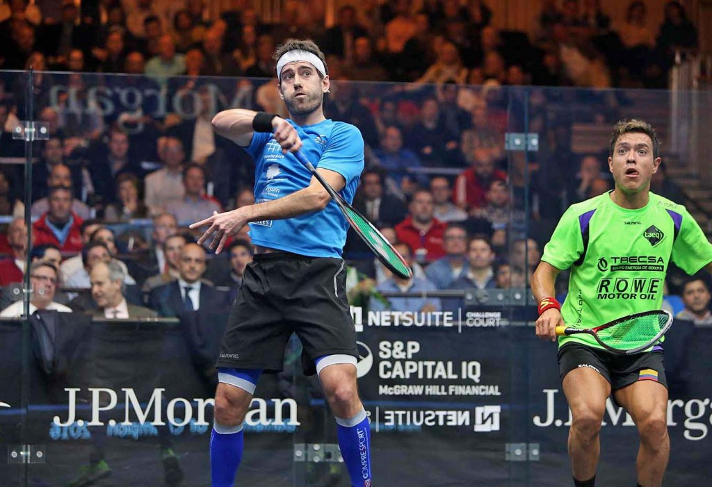 Spaniard Borja Golan stunned world number five Miguel Angel Rodriguez of Colombia to book his place in the second round of the Tournament of Champions ©PSA