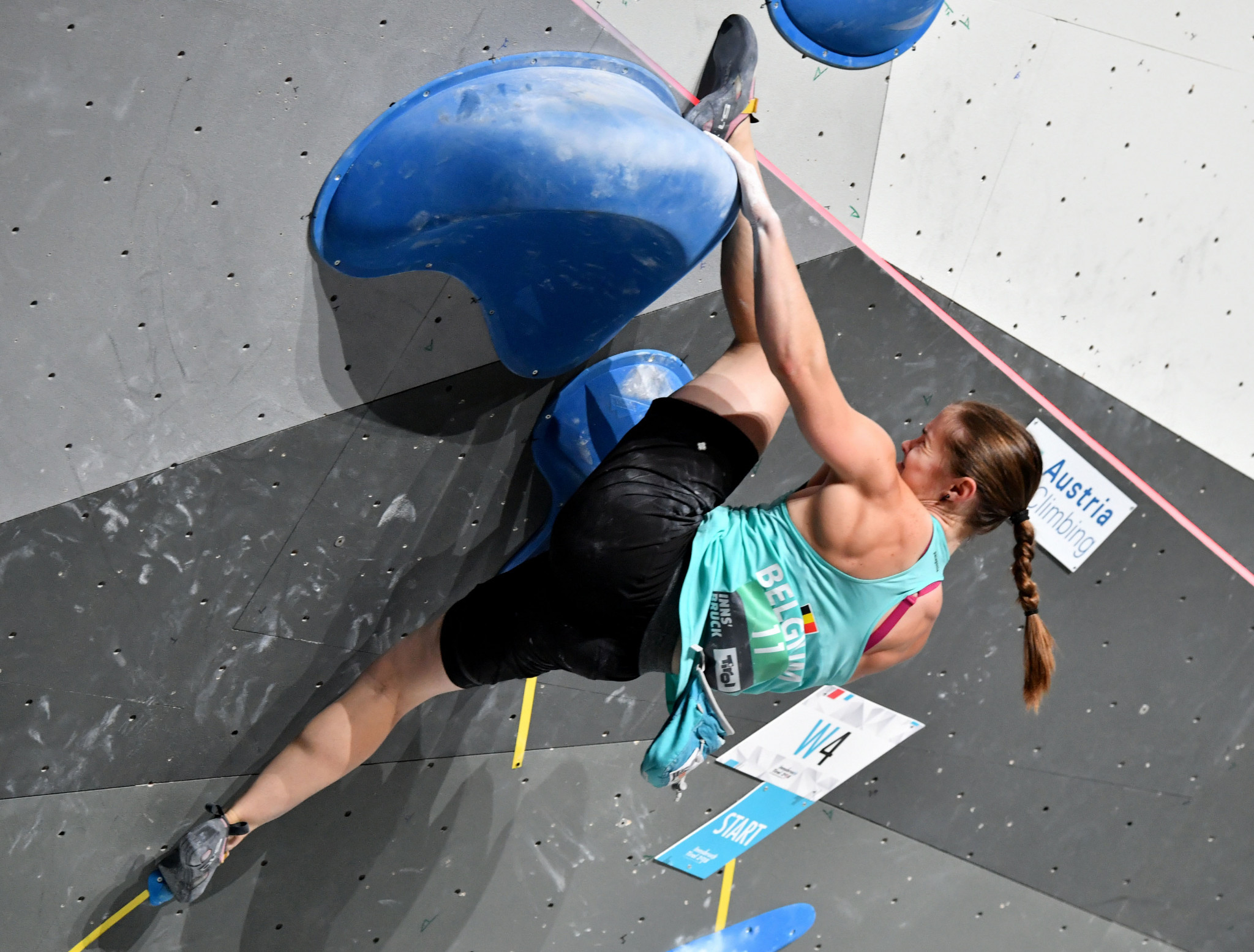 Chloe Caulier of Belgium topped the women's boulder qualification event at the IFSC European Championships ©Getty Images