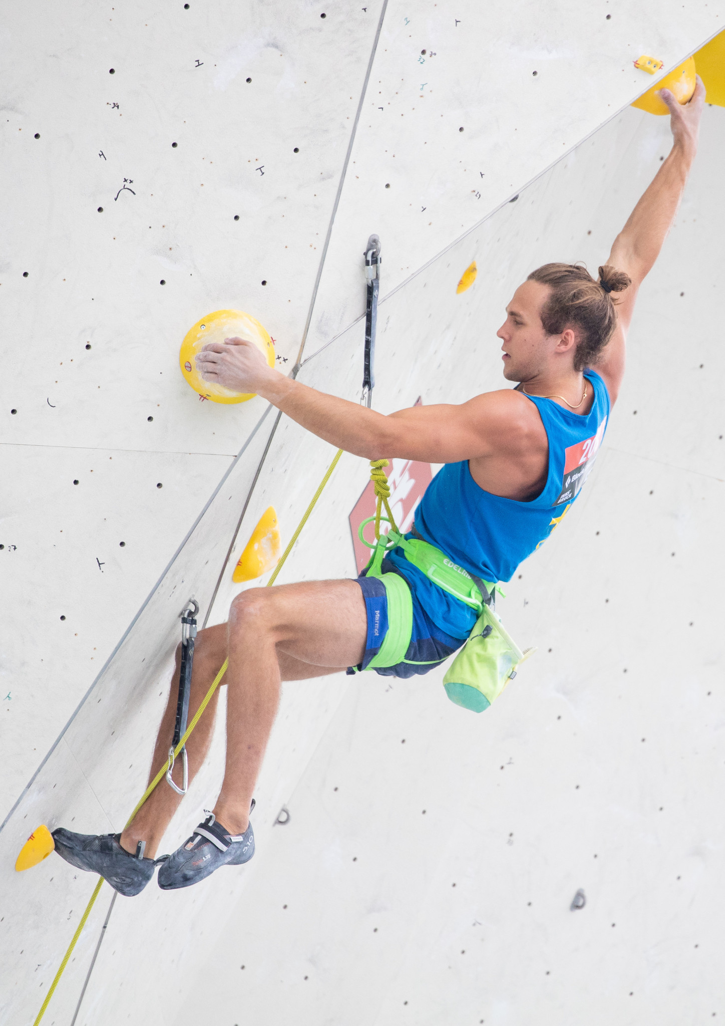 Hannes Puman of Sweden topped the men's lead qualifying at the IFSC European Championships ©Getty Images