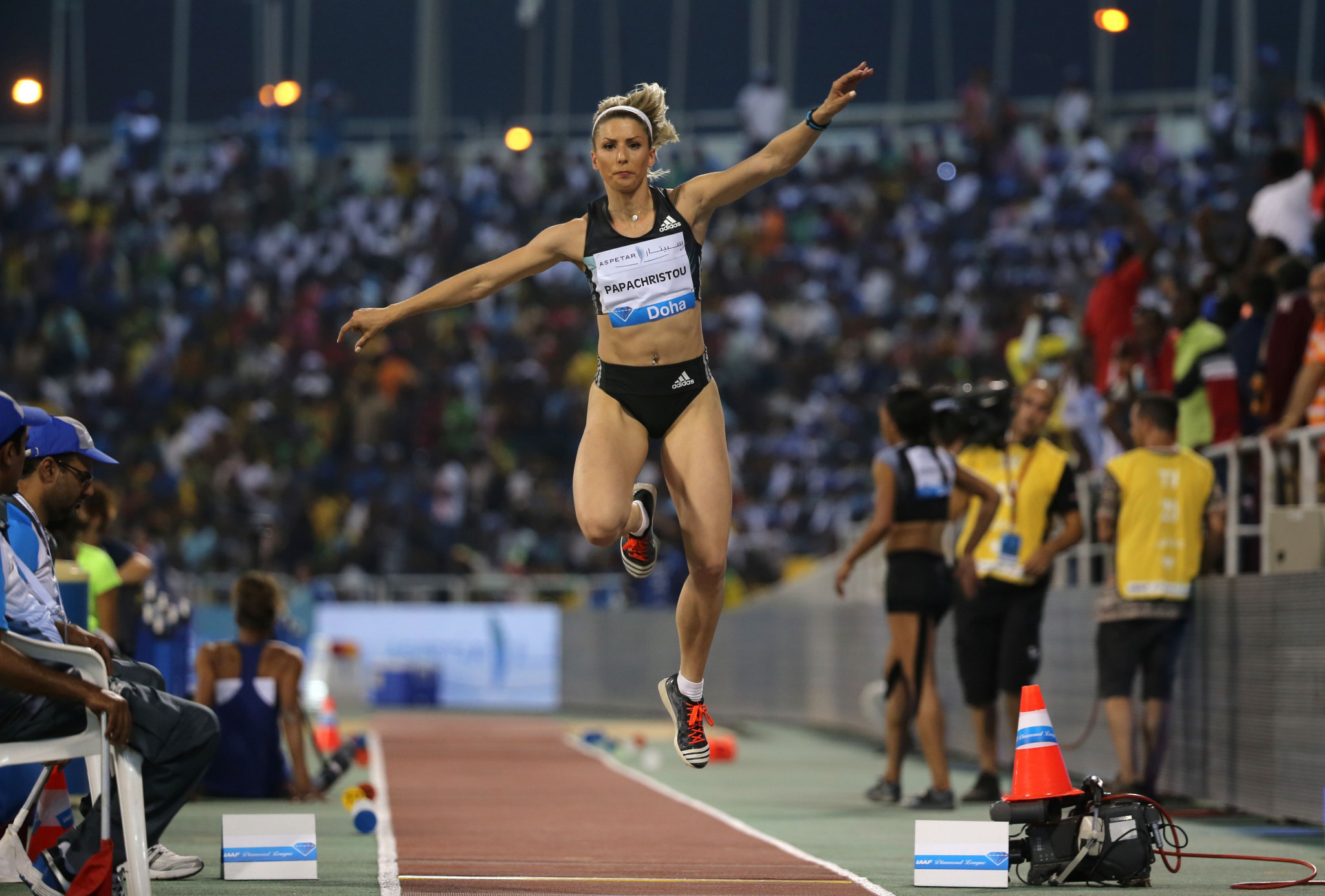 Like her team mate Katerina Stefanidi, Greek triple jumper Paraskevi Papachristou will now not need to repay the bonus she earned for winning bronze at the 2016 World Indoor Championships in Portland, Oregon ©Getty Images