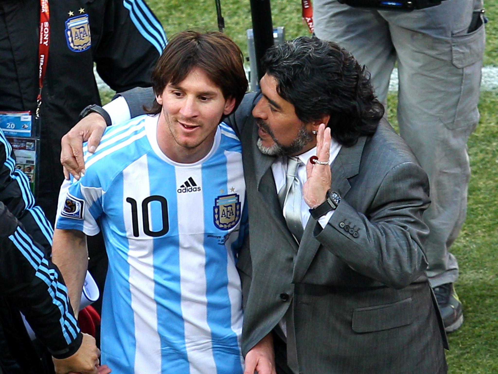 Lionel Messi today said Diego Maradona is