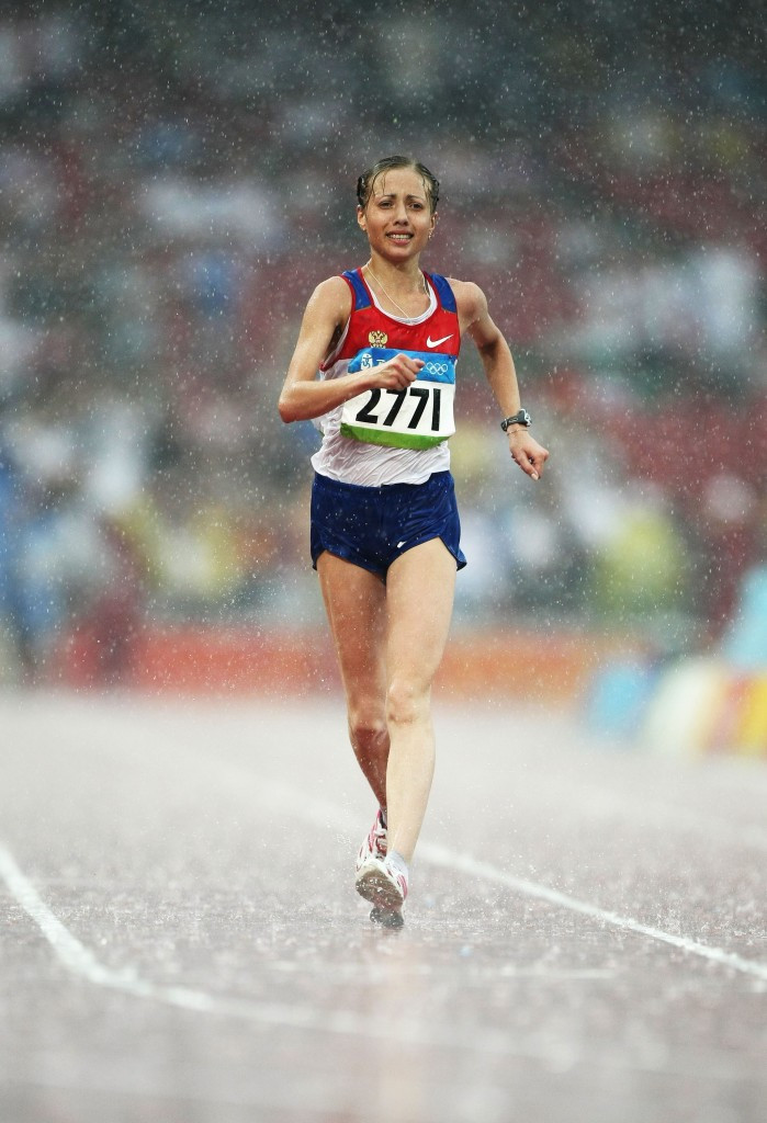 Olga Kaniskina, the Olympic gold medallist in the 20 kilometres walk at Beijing 2008, was one of four Russians who paid money to avoid being banned for drugs, the IAAF claim ©Getty Images