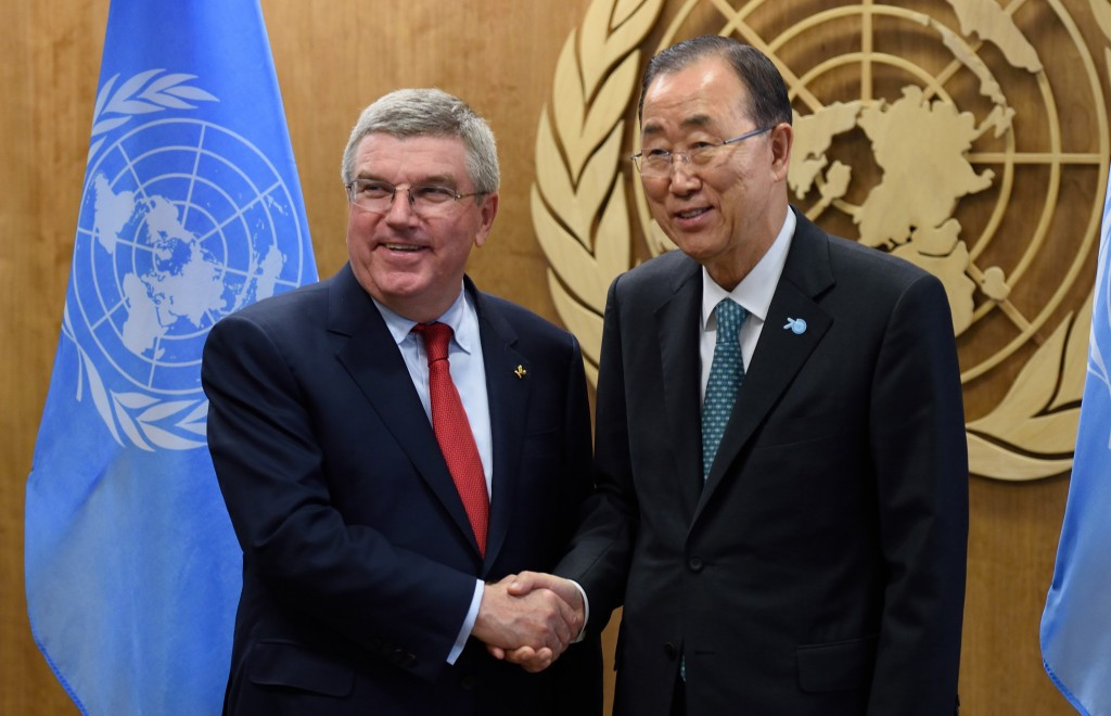 IOC President Thomas Bach has worked closely with UN Secretary General Ban Ki-moon to bring about wider development through sport in recent years ©AFP/Getty Images