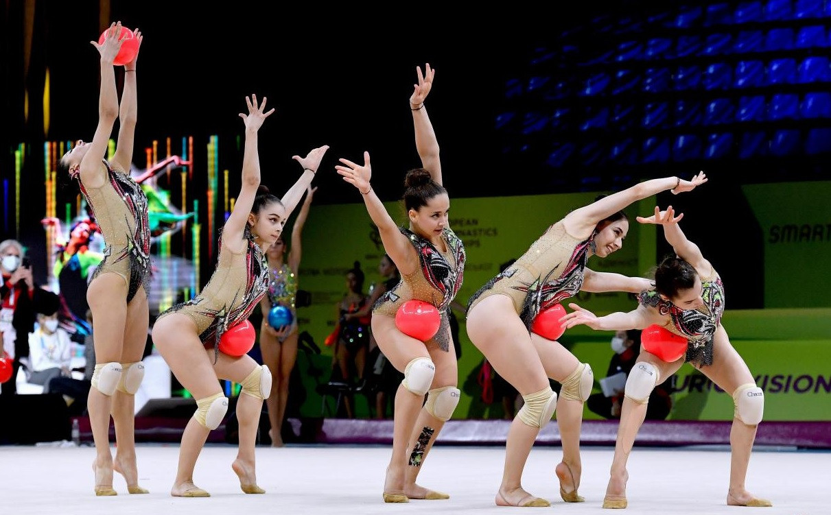 Azerbaijan lead senior group competition after day one of Rhythmic Gymnastics European Championships