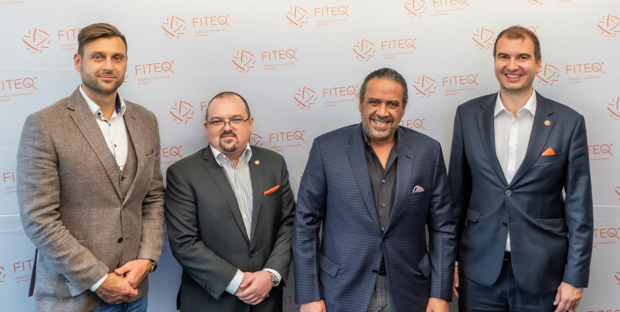 Gabor Borsányi, Marius Vizer Jr, Sheikh Ahmad Al-Fahad Al-Sabah and Viktor Huszar have held talks at the FITEQ headquarters in Budapest ©FITEQ