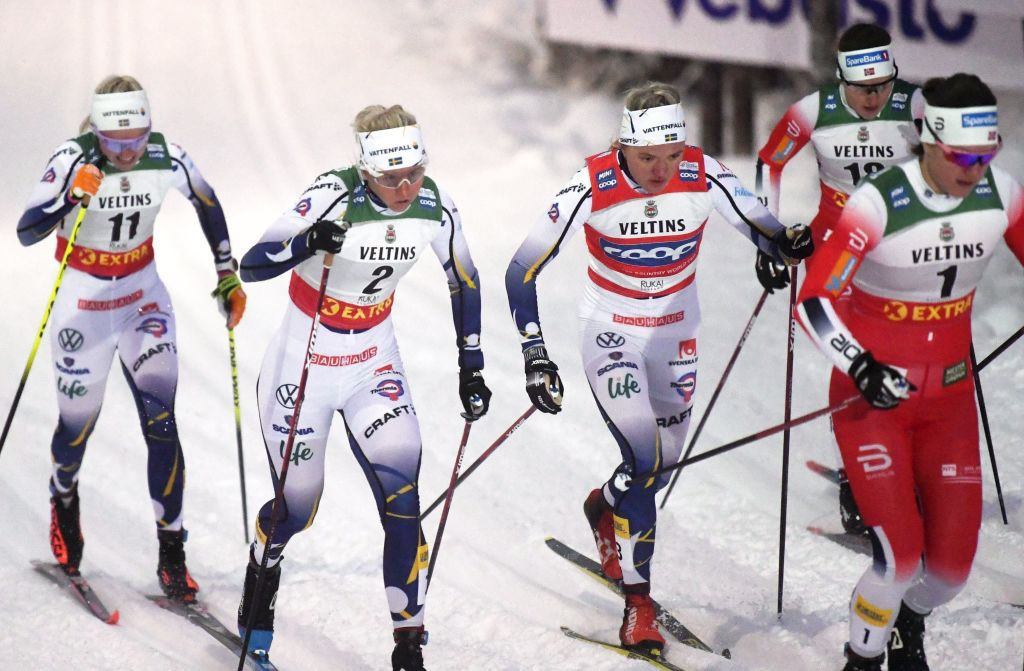 Sweden's Linn Svahn, second left, claimed victory in the women's race ©Getty Images