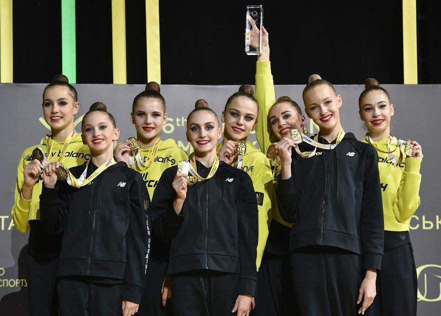 Ukraine took the senior team title on day two of the Rhythmic Gymnastics European Championships in Kiev ©Simone Ferraro